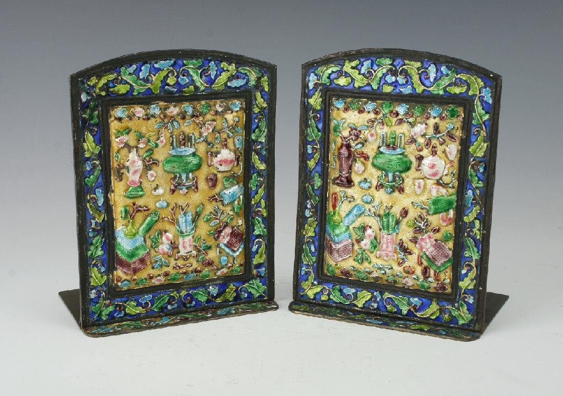 20TH CENTURY CHINESE ENAMEL BOOKENDS