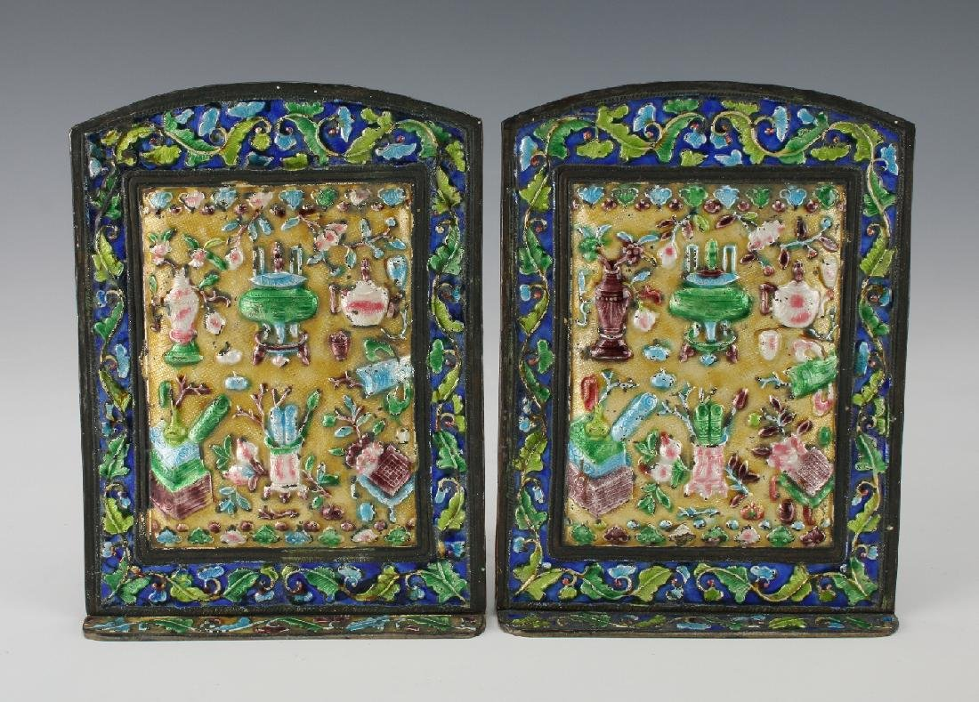 20TH CENTURY CHINESE ENAMEL BOOKENDS - 2