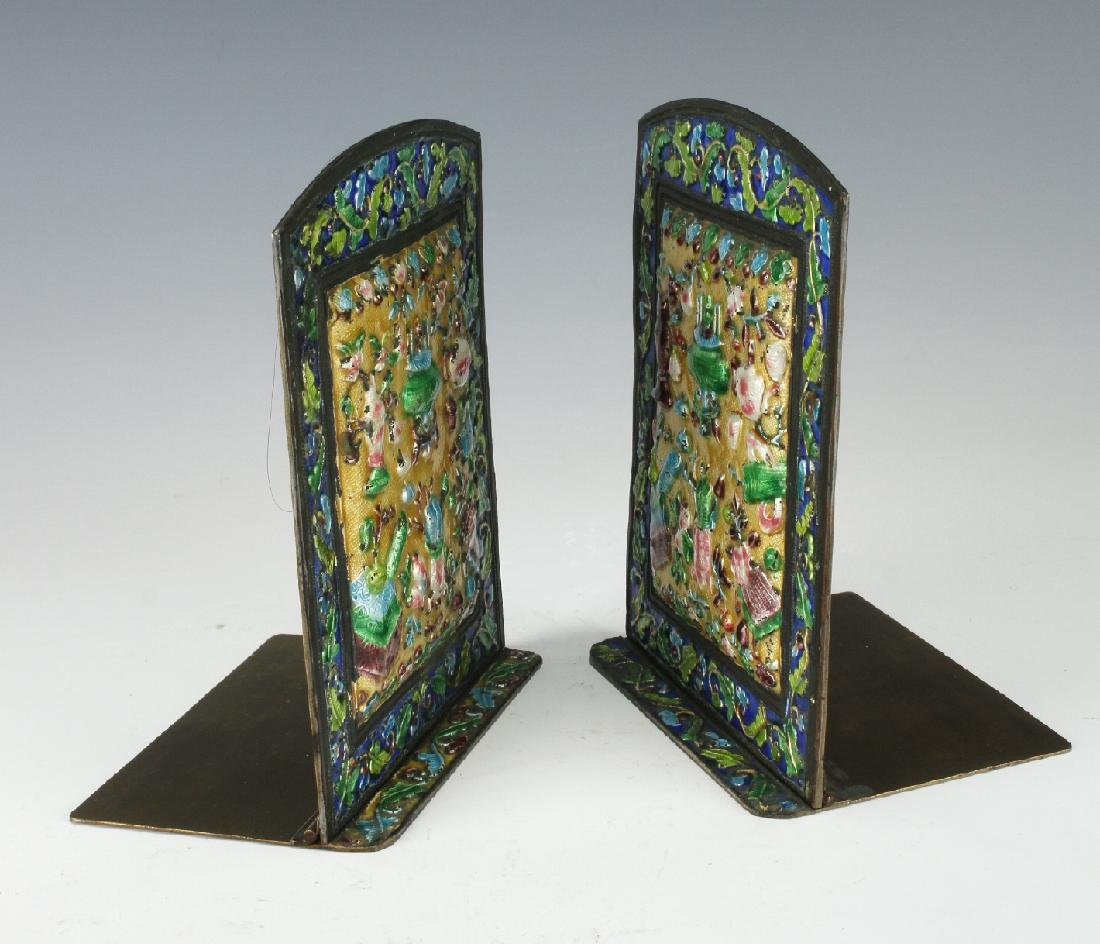 20TH CENTURY CHINESE ENAMEL BOOKENDS - 4
