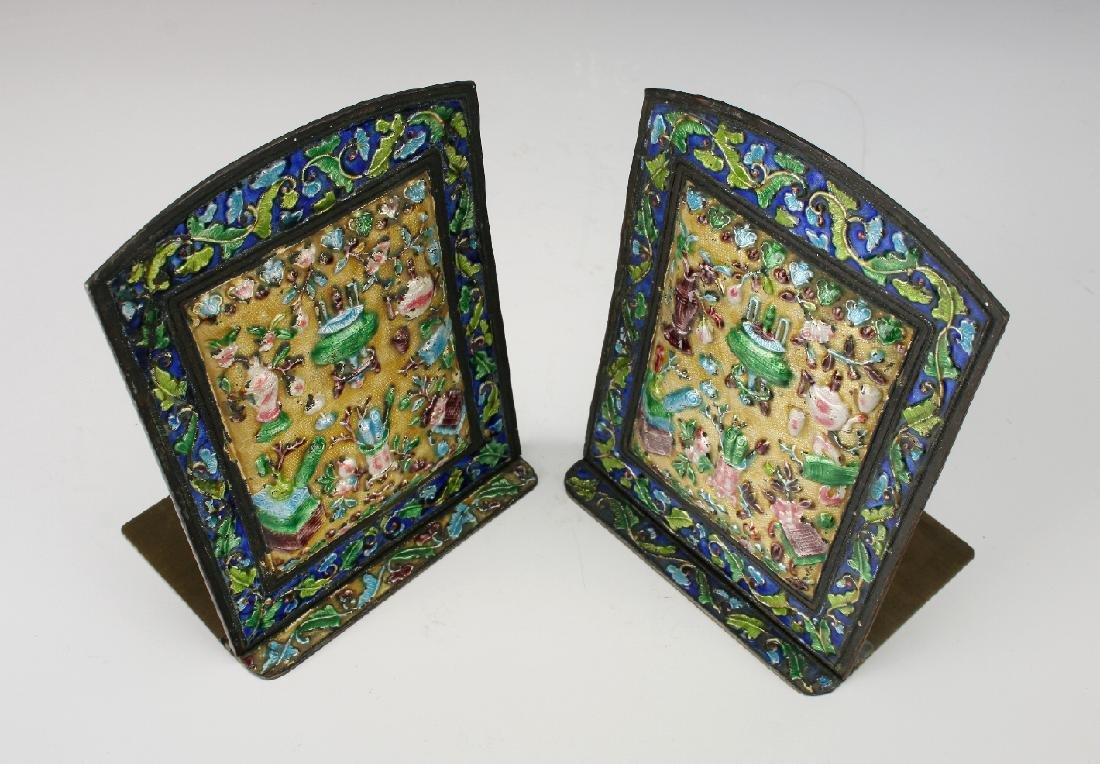 20TH CENTURY CHINESE ENAMEL BOOKENDS - 6