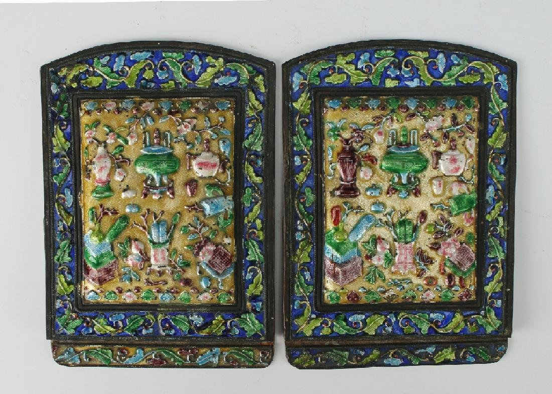 20TH CENTURY CHINESE ENAMEL BOOKENDS - 7