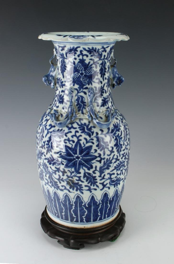 BLUE AND WHITE DRAGON VASE AND CUSTOM  BASE