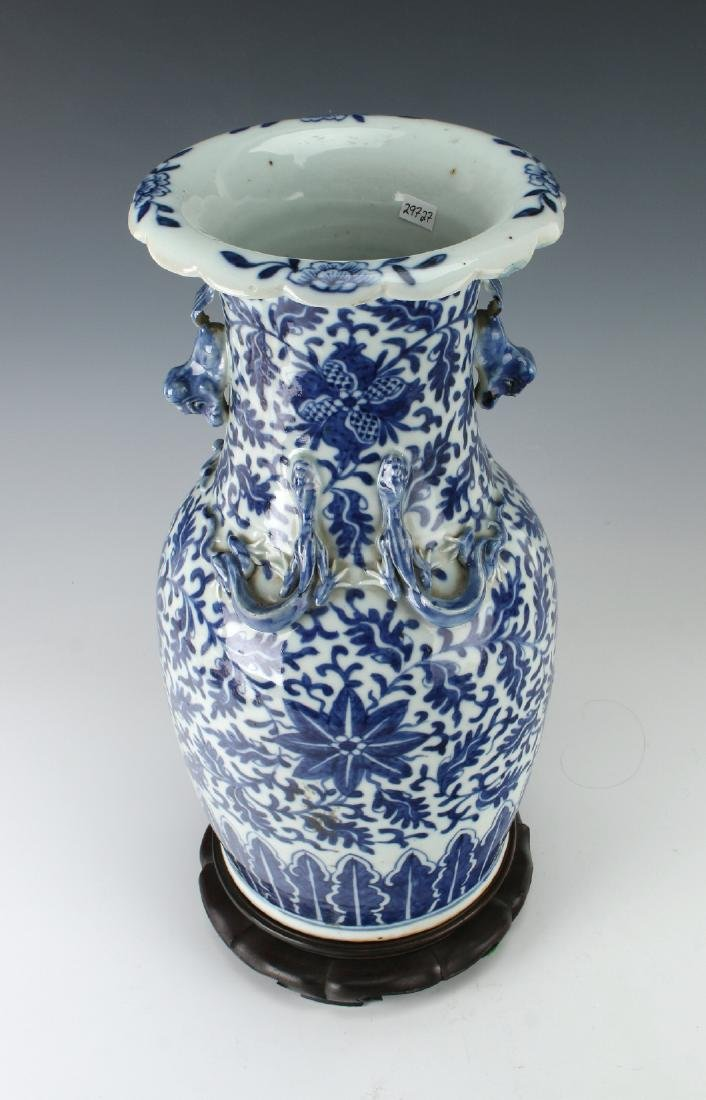 BLUE AND WHITE DRAGON VASE AND CUSTOM  BASE - 2