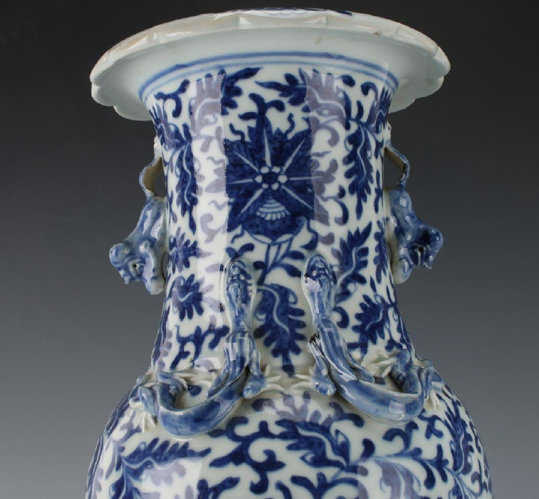 BLUE AND WHITE DRAGON VASE AND CUSTOM  BASE - 3