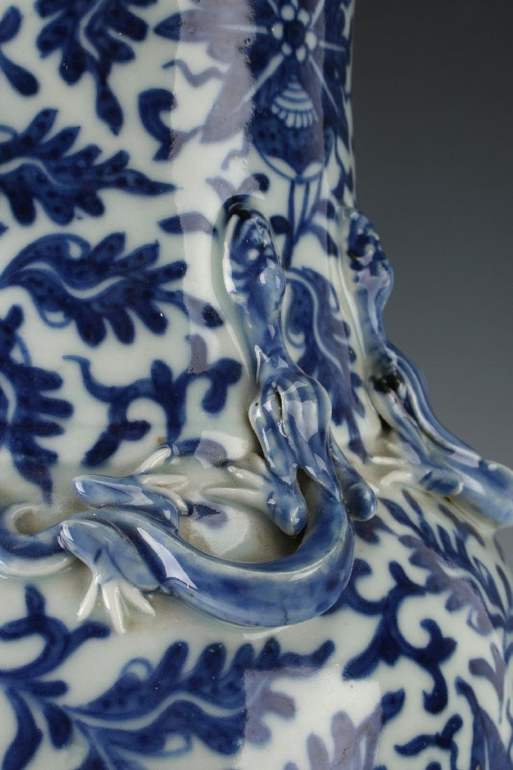 BLUE AND WHITE DRAGON VASE AND CUSTOM  BASE - 4