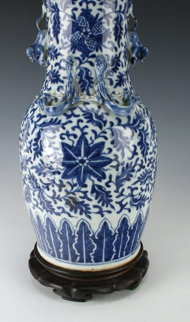 BLUE AND WHITE DRAGON VASE AND CUSTOM  BASE - 7