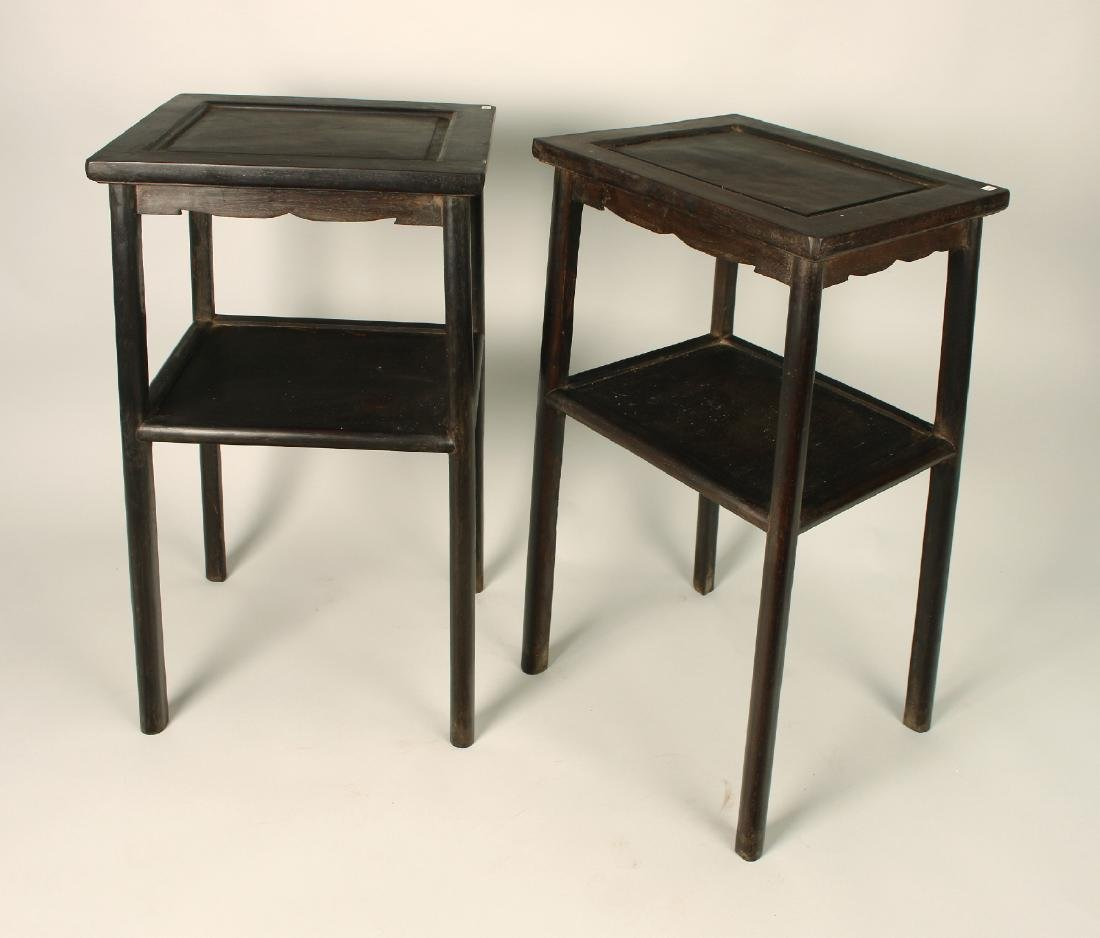 PAIR TWO TIERED ZITAN END TABLES