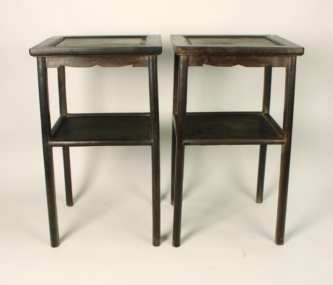 PAIR TWO TIERED ZITAN END TABLES - 2