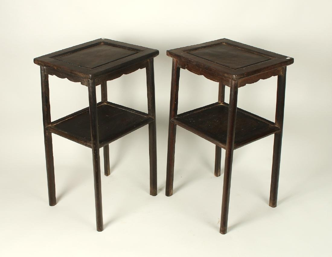 PAIR TWO TIERED ZITAN END TABLES - 4