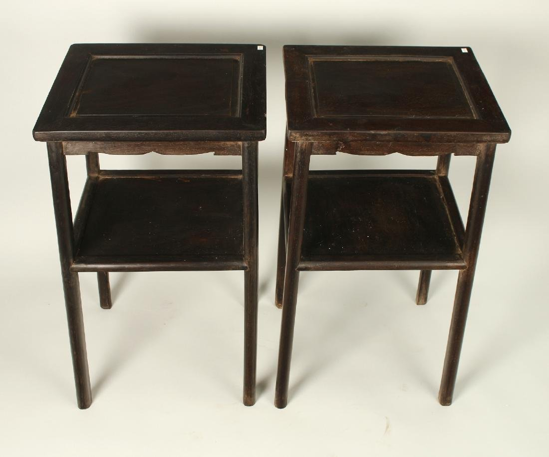 PAIR TWO TIERED ZITAN END TABLES - 5