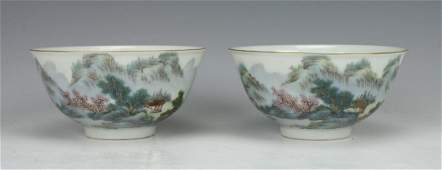 PAIR OF BOWLS WITH VILLAGE SCENE