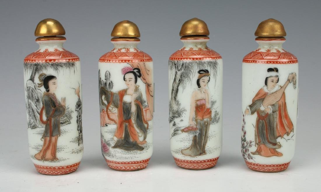 FOUR SNUFF BOTTLES WITH BEAUTIFUL WOMEN