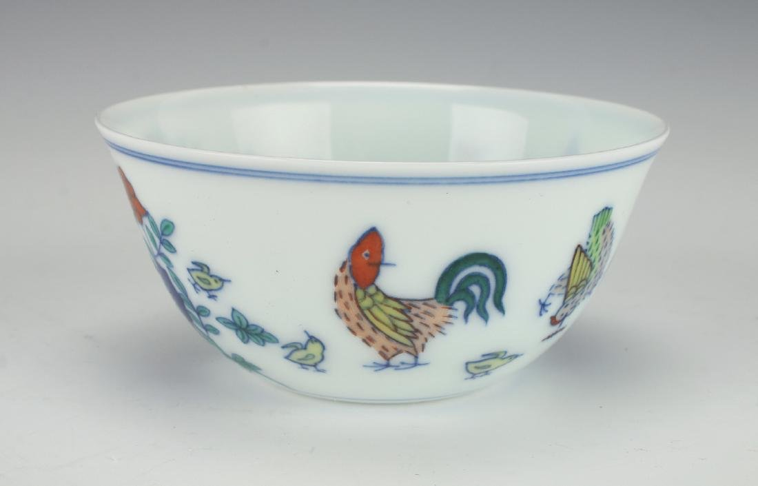 ANTIQUE DOUCAI ROOSTER TEA CUP