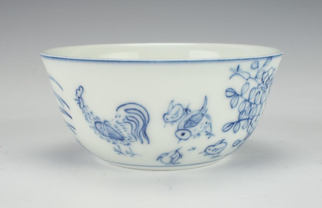 ANTIQUE BLUE & WHITE ROOSTER TEACUP