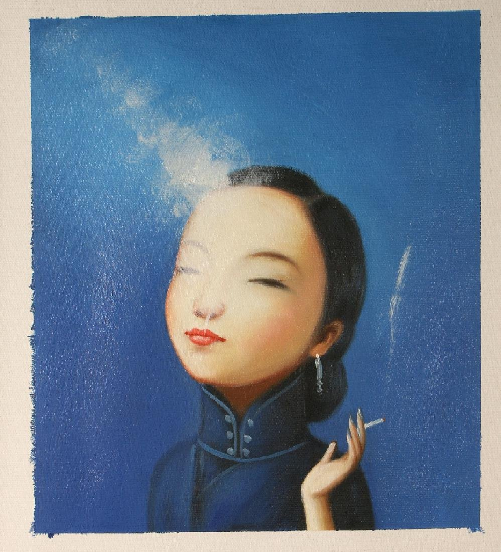 OIL ON CANVAS OF WOMAN SMOKING