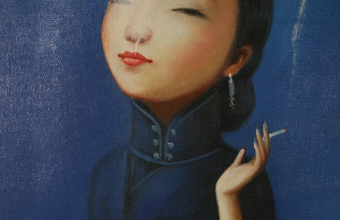 OIL ON CANVAS OF WOMAN SMOKING - 2