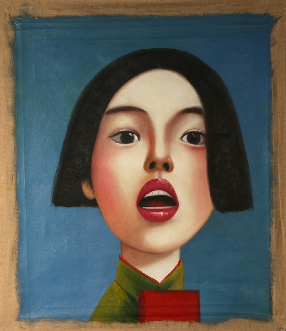 SURREALISTIC OIL ON CANVAS OF WOMAN