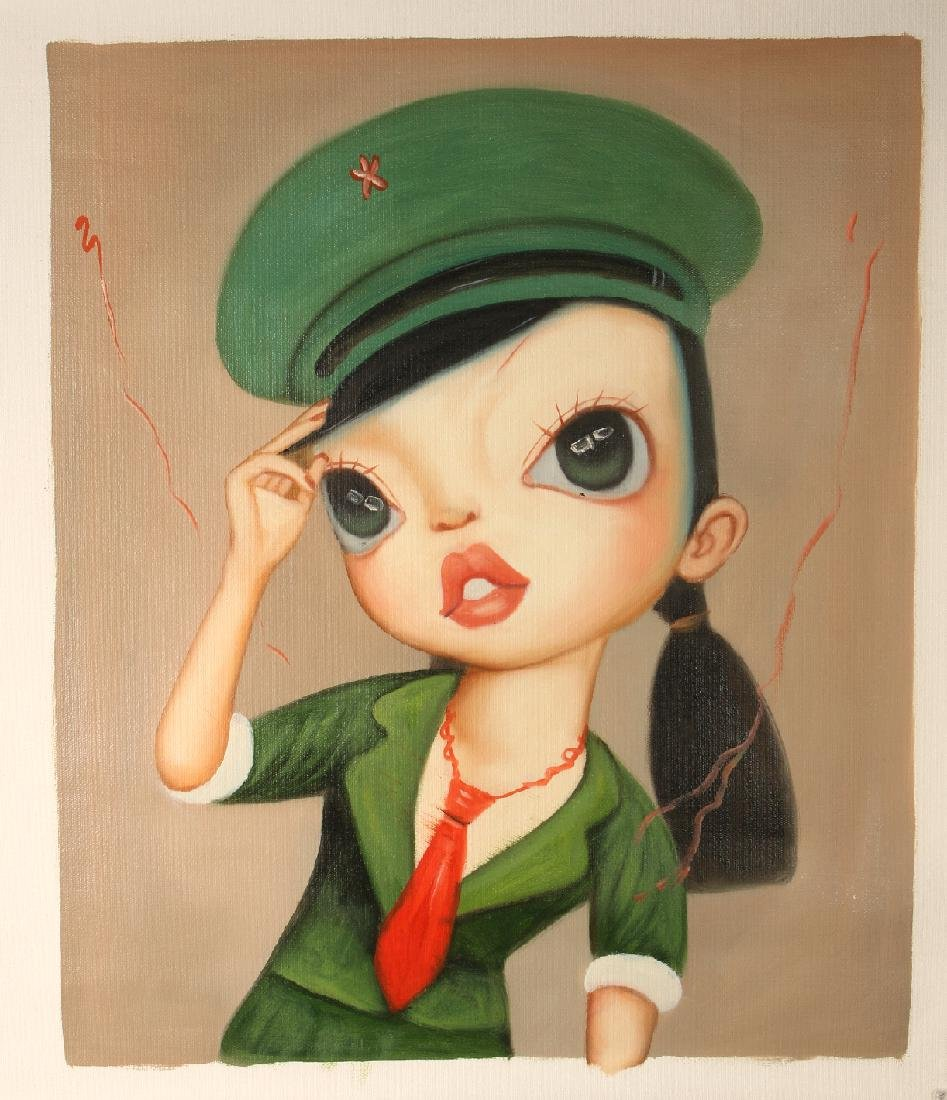 SURREALISTIC OIL ON CANVAS OF GIRL IN UNIFORM