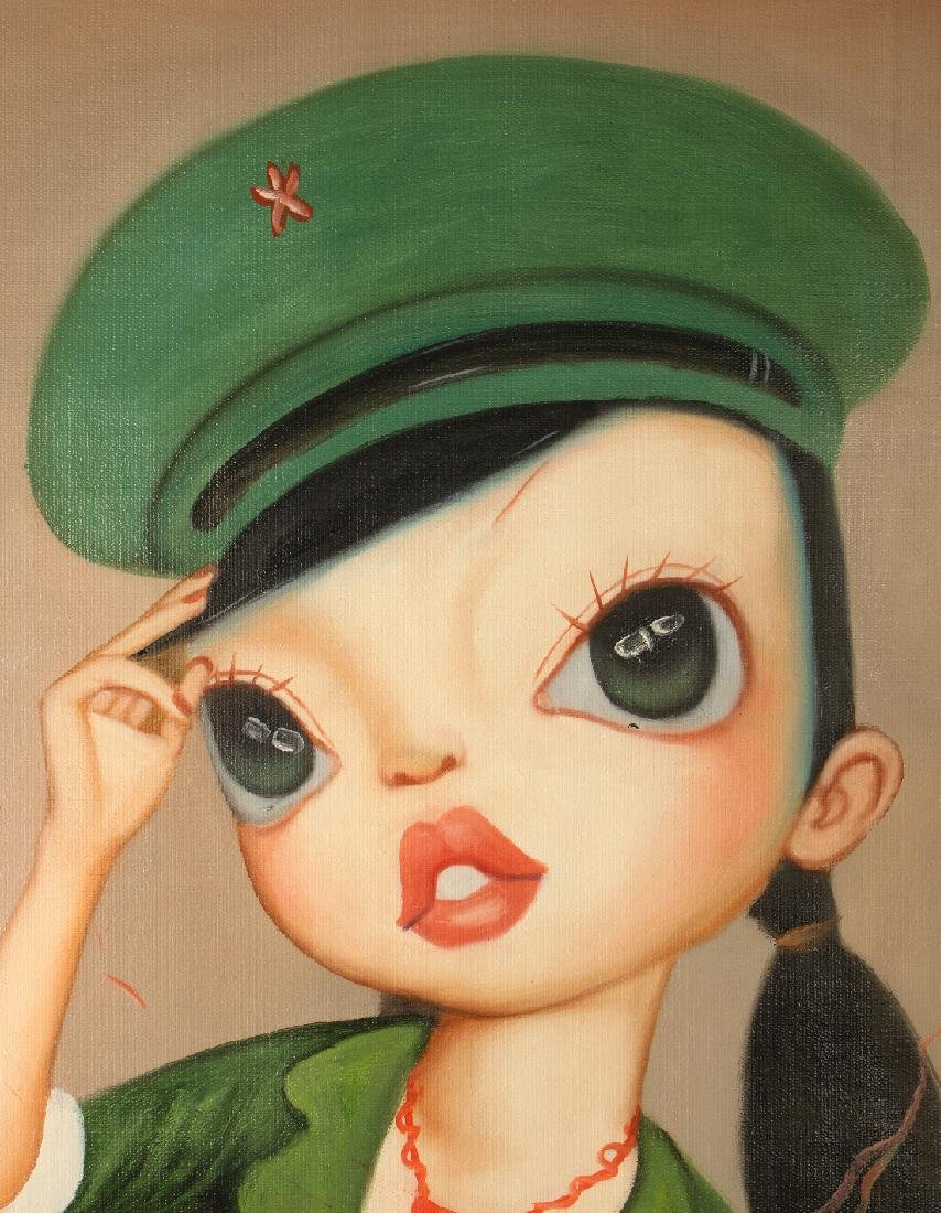 SURREALISTIC OIL ON CANVAS OF GIRL IN UNIFORM - 2