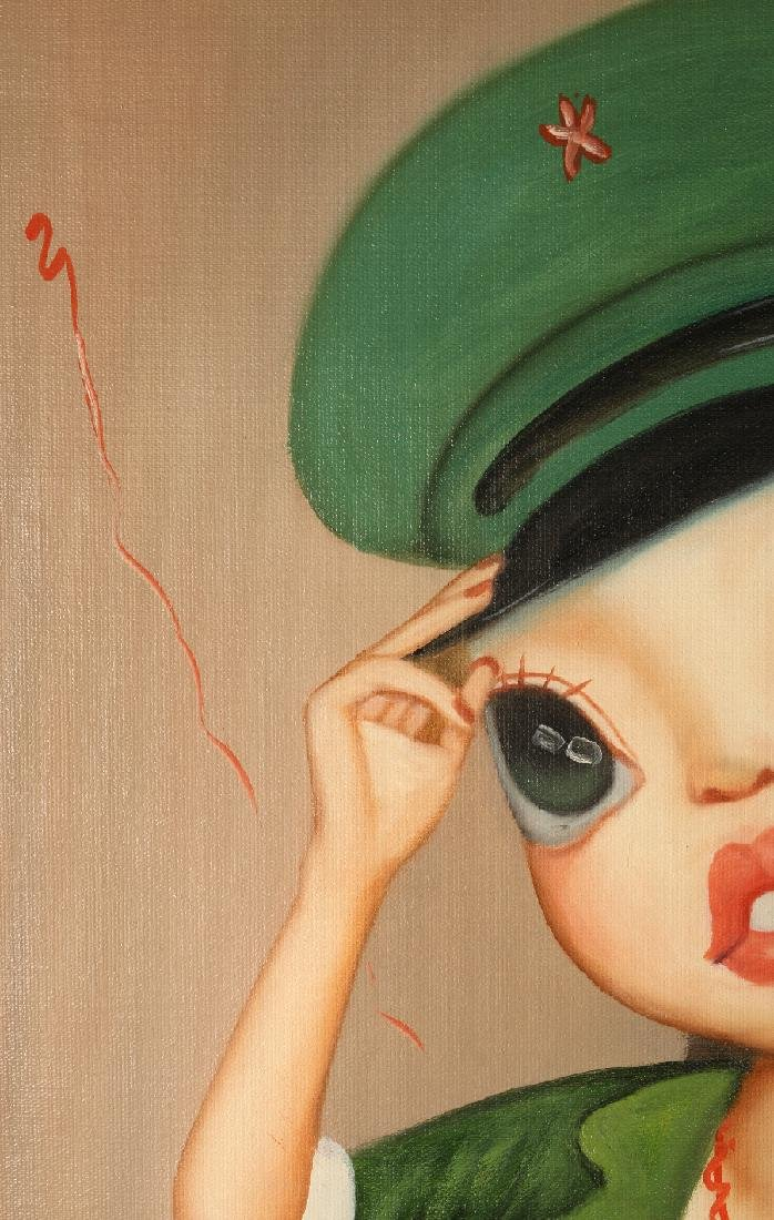 SURREALISTIC OIL ON CANVAS OF GIRL IN UNIFORM - 4
