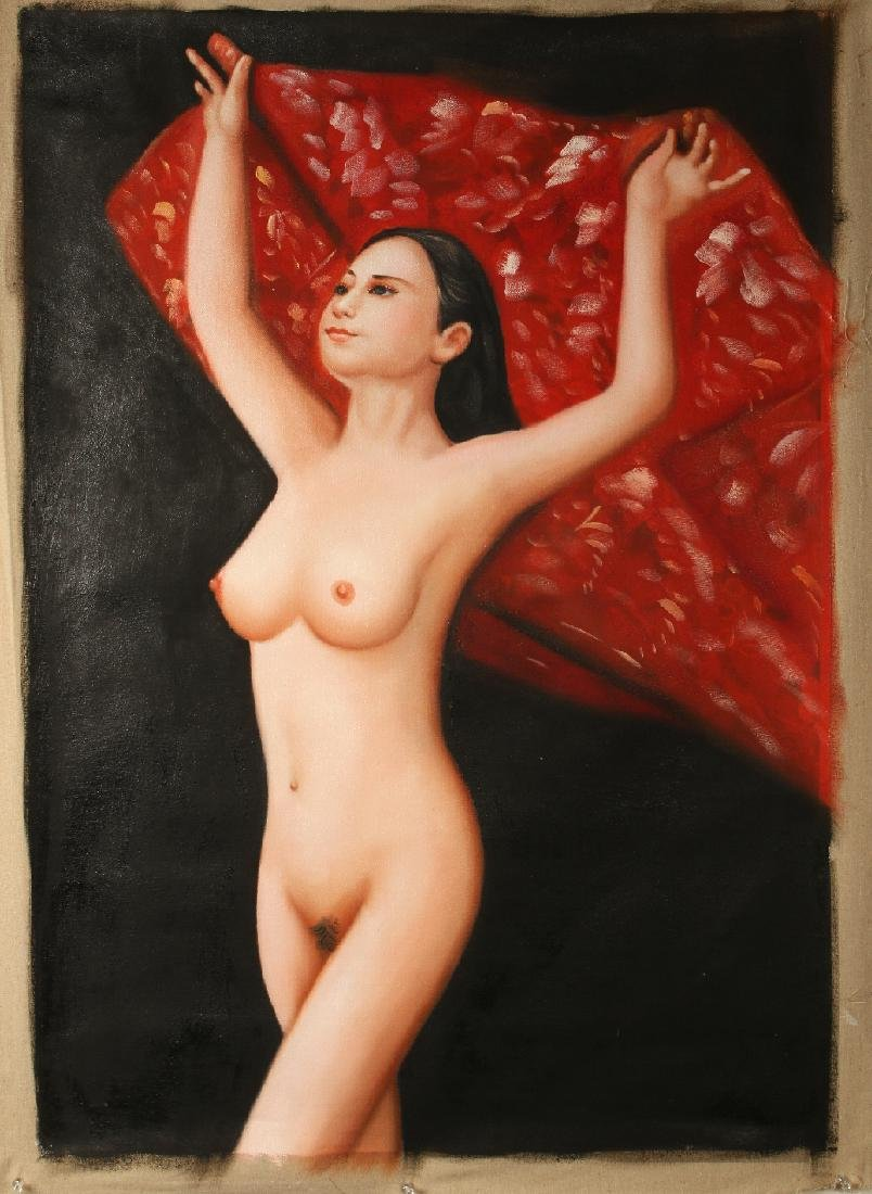 OIL ON CANVAS PAINTING OF NUDE HOLDING BLANKET