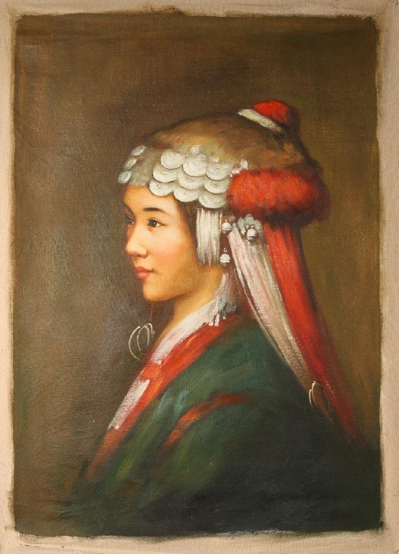 PAINTING ON CANVAS OF WOMAN IN HEADDRESS