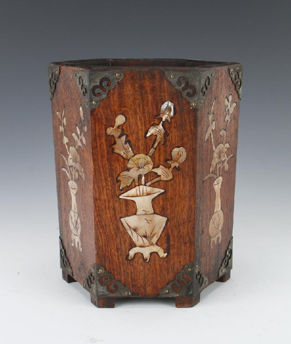 WOODEN BRUSHPOT WITH MOTHER OF PEARL INLAY