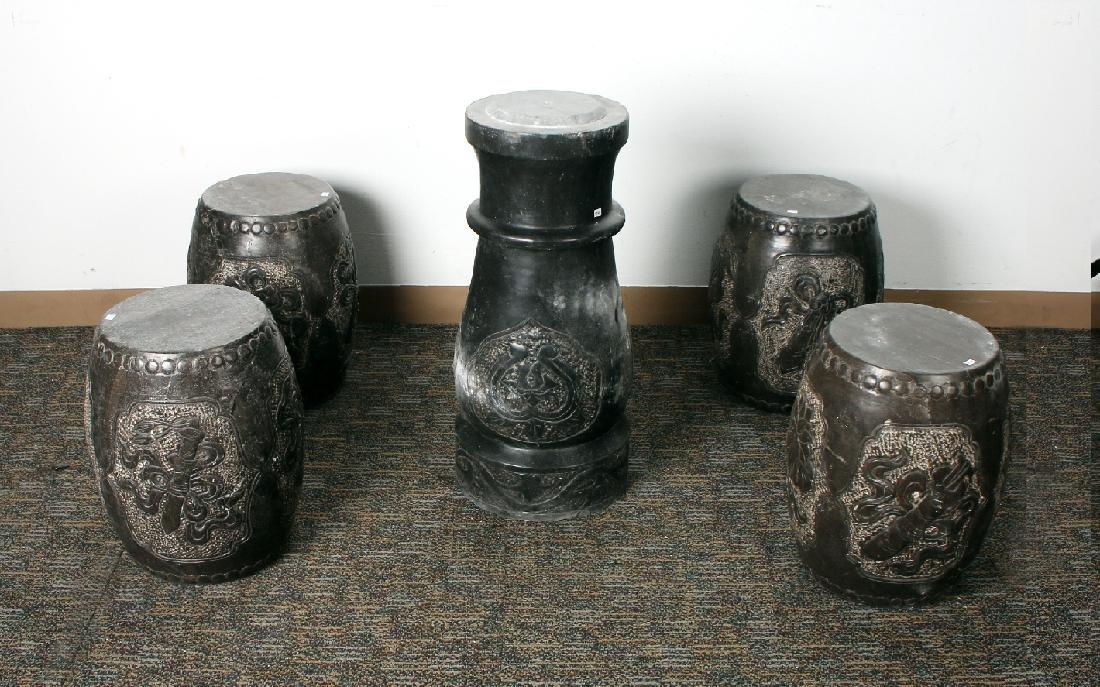 GARDEN SET OF FOUR STONE STOOLS WITH PEDESTAL