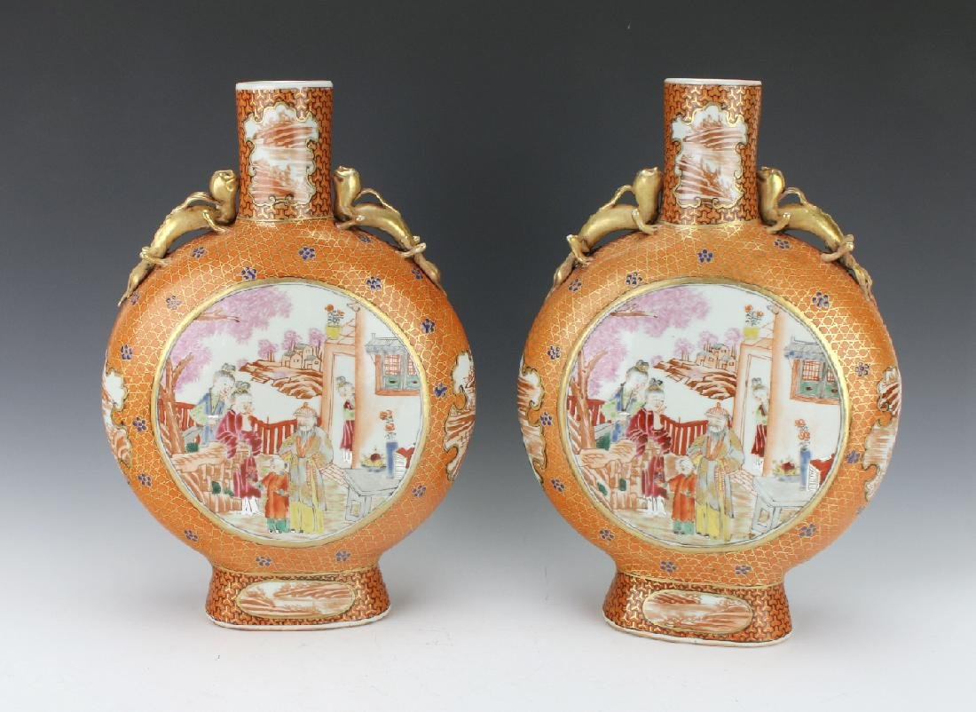 PAIR OF MOON FLASKS WITH VILLAGE SCENES