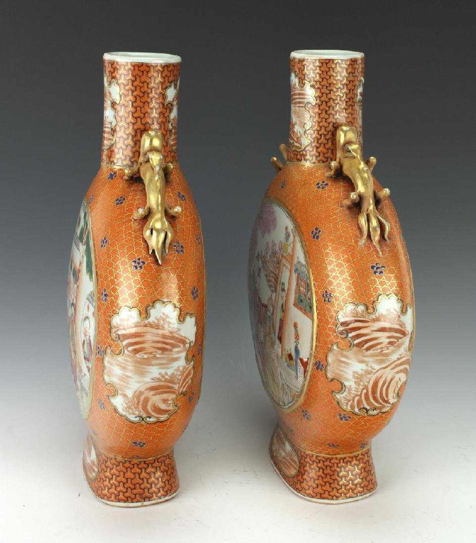 PAIR OF MOON FLASKS WITH VILLAGE SCENES - 2