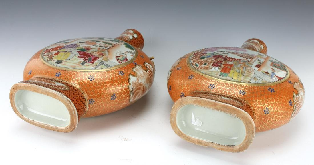 PAIR OF MOON FLASKS WITH VILLAGE SCENES - 7