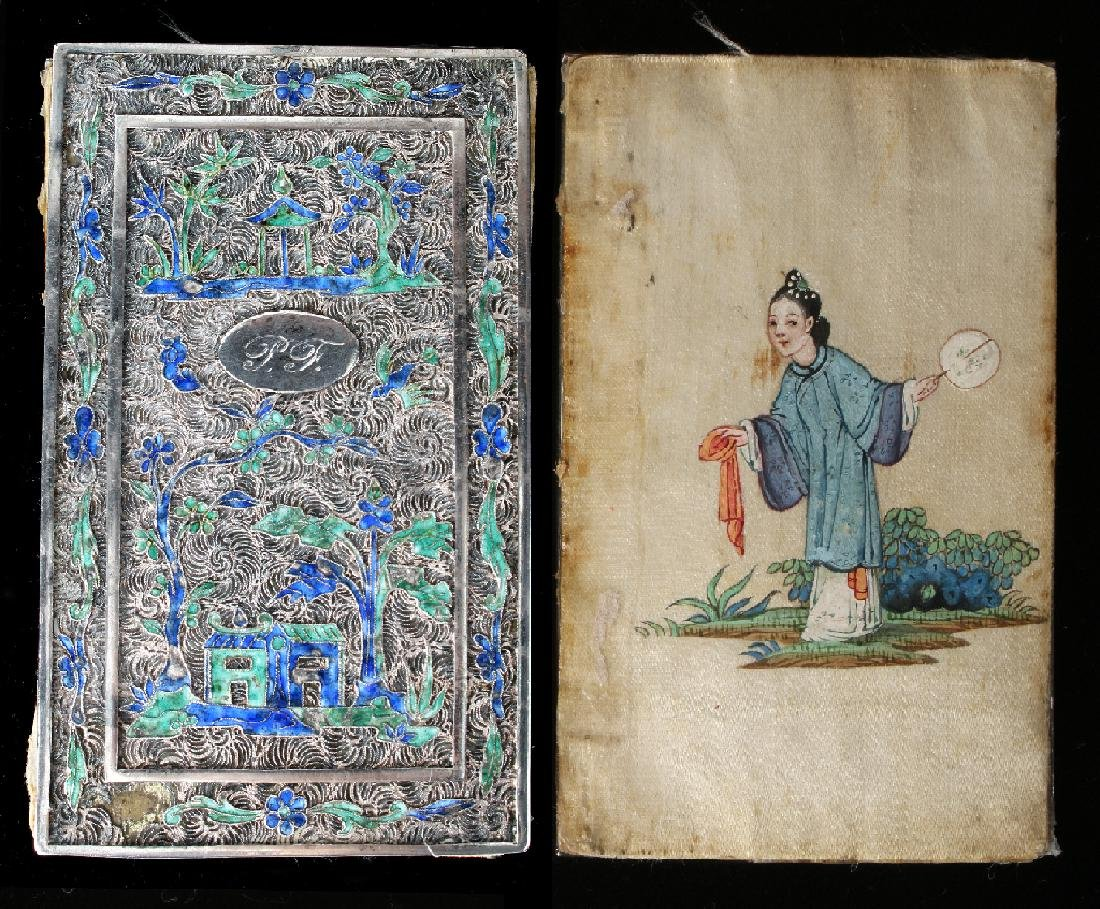"CHINESE SILVER ""BOOK"" WITH SILK PAINTING"