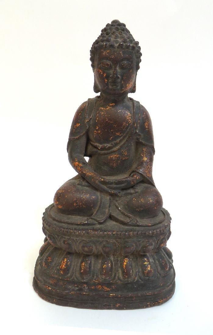 CAST BRONZE GILT DECORATED BUDDHA