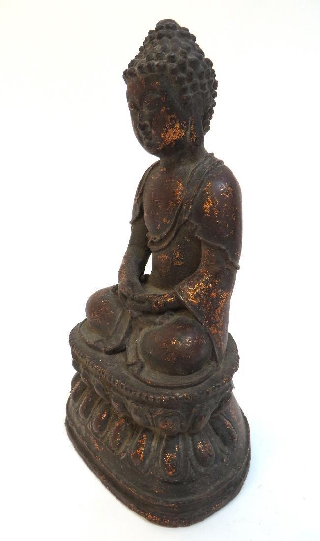 CAST BRONZE GILT DECORATED BUDDHA - 2