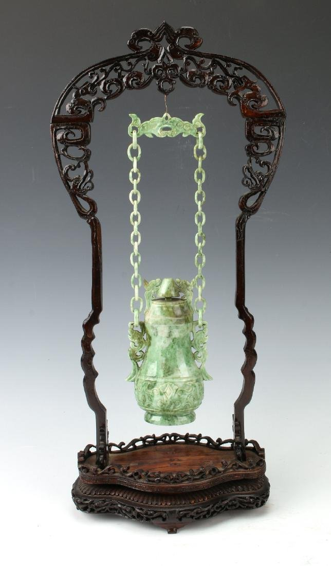 HANGING JADE URN WITH WOODEN STAND