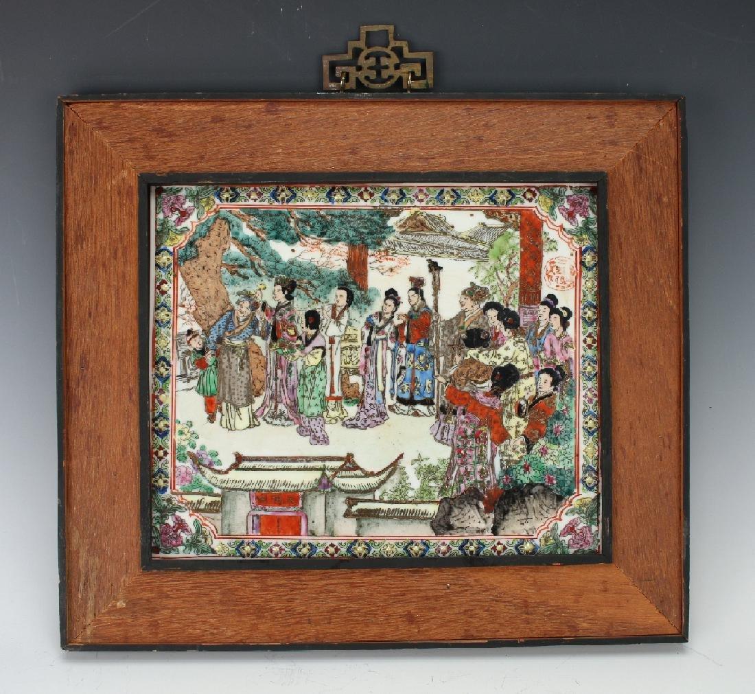 19TH C. PORCELAIN PLAQUE OF VILLAGE SCENE