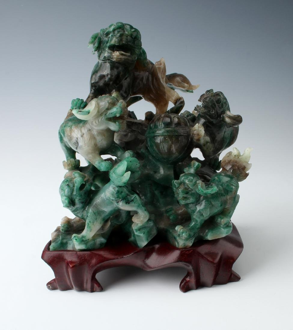 JADE SCULPTURE ON STAND WITH BOX
