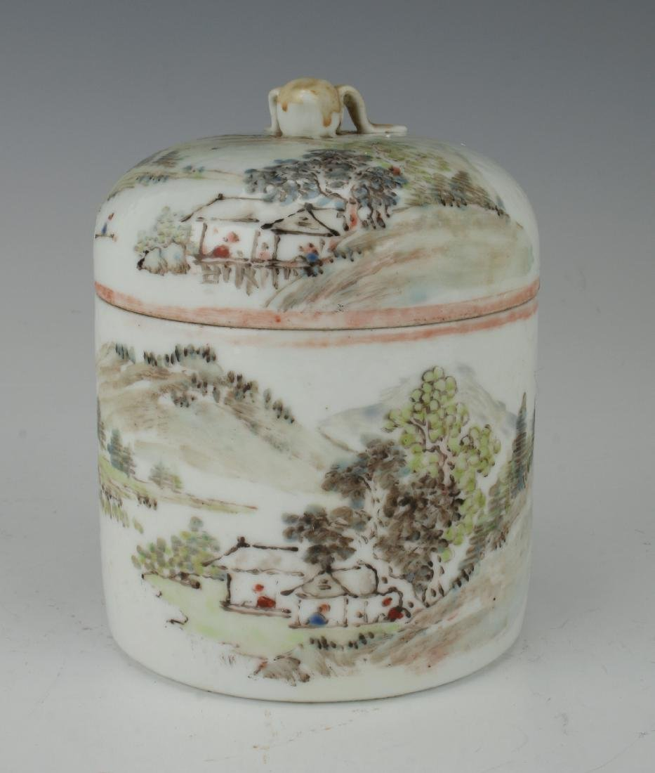 LIDDED JAR WITH VILLAGE SCENE