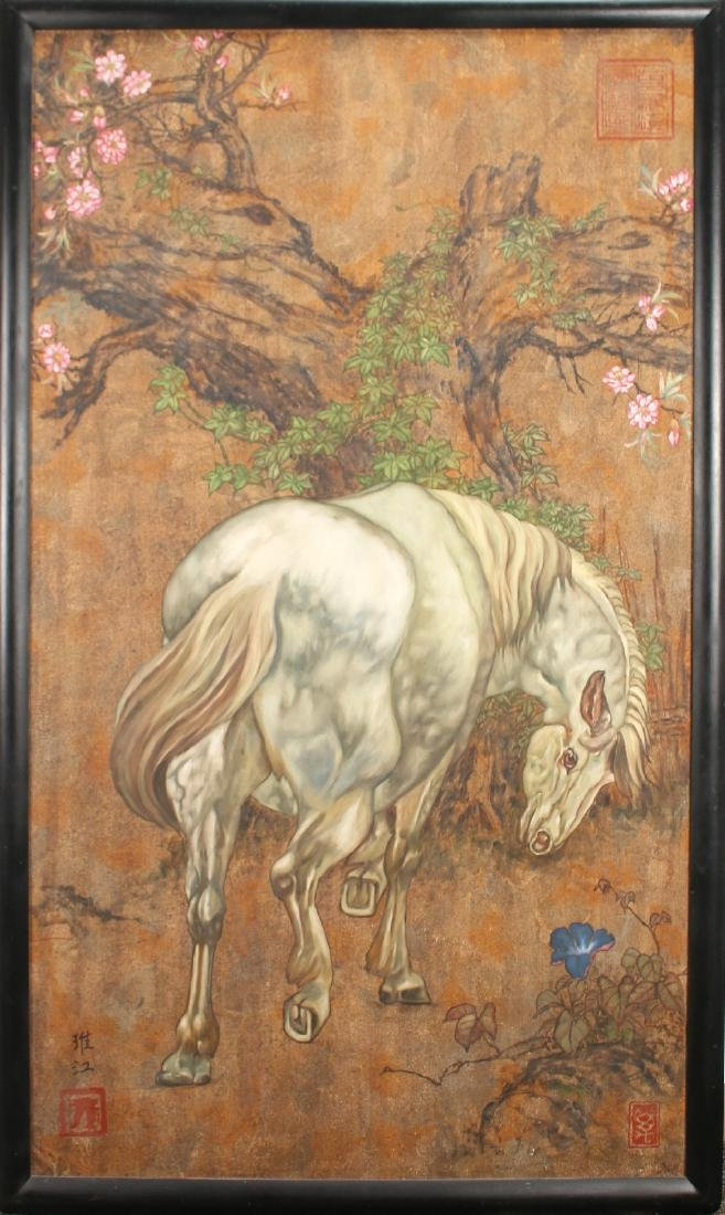 LARGE PAINTING OF HORSE UNDER TREE