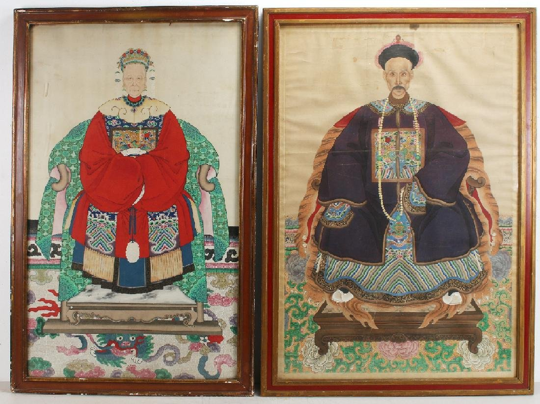 PAIR OF LARGE CHINESE ANCESTRAL PORTRAITS
