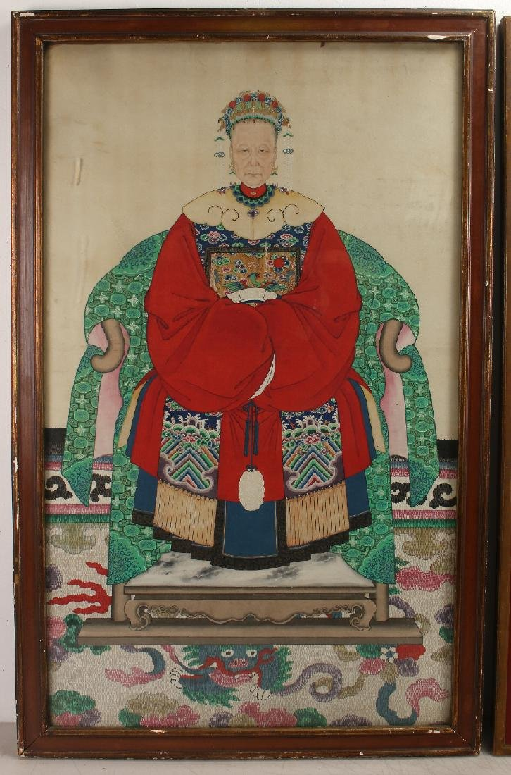 PAIR OF LARGE CHINESE ANCESTRAL PORTRAITS - 2