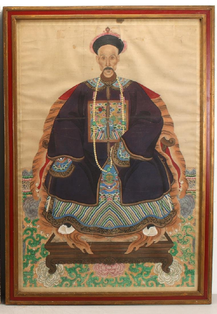 PAIR OF LARGE CHINESE ANCESTRAL PORTRAITS - 3