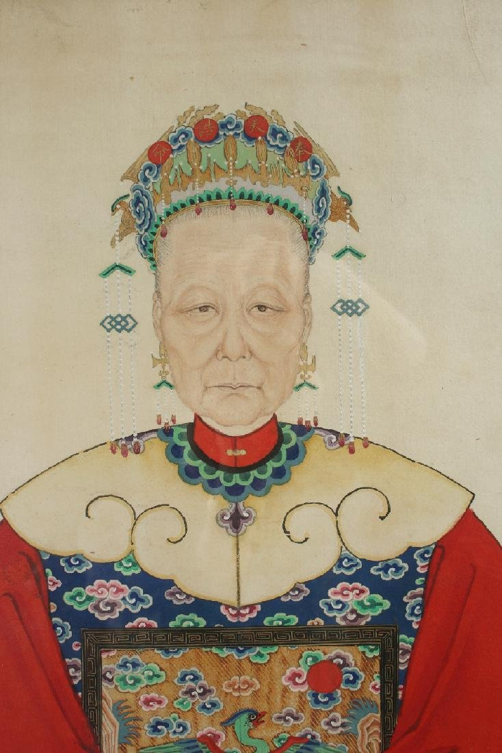 PAIR OF LARGE CHINESE ANCESTRAL PORTRAITS - 4