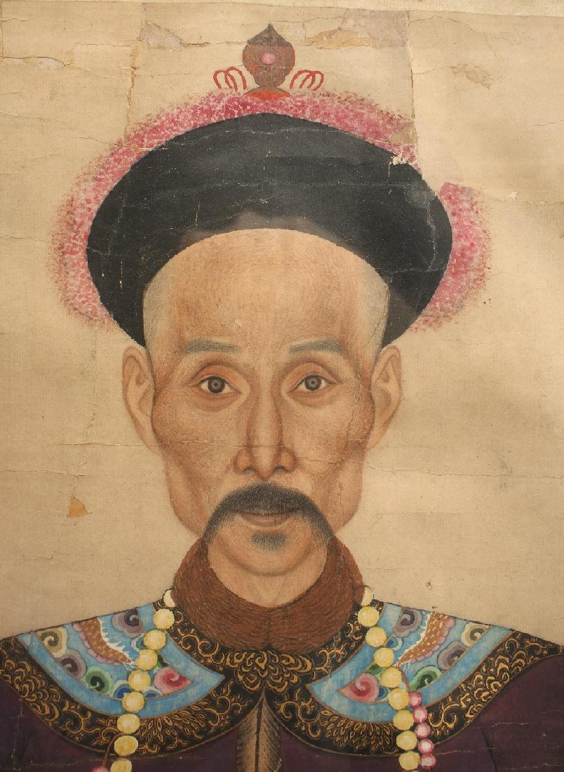 PAIR OF LARGE CHINESE ANCESTRAL PORTRAITS - 8