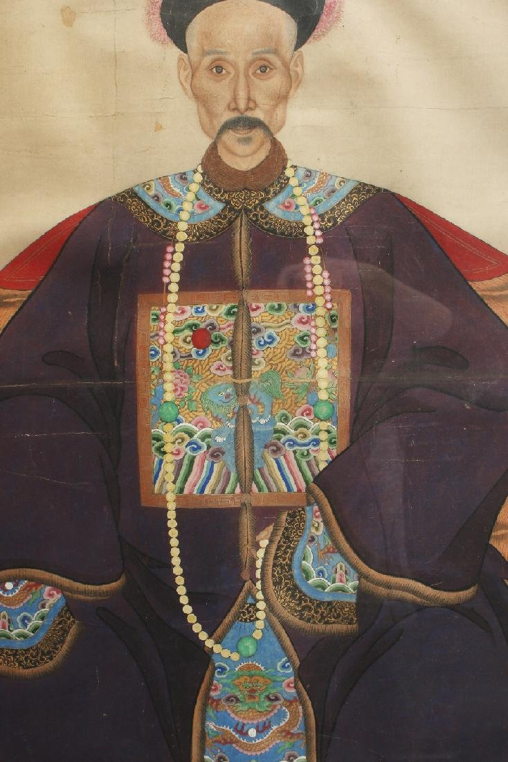 PAIR OF LARGE CHINESE ANCESTRAL PORTRAITS - 9