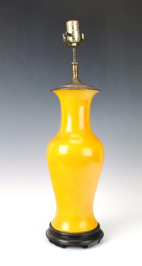 YELLOW PORCELAIN LAMP ON STAND