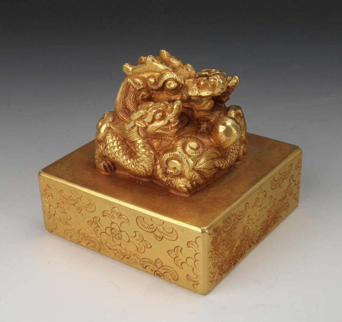 QING GOLD GILT BRONZE DRAGON SEAL - 10