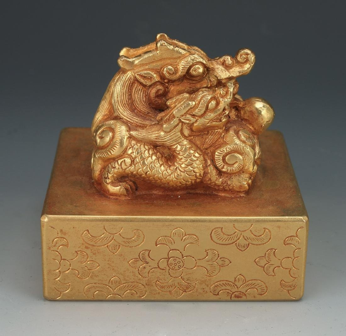 QING GOLD GILT BRONZE DRAGON SEAL - 2