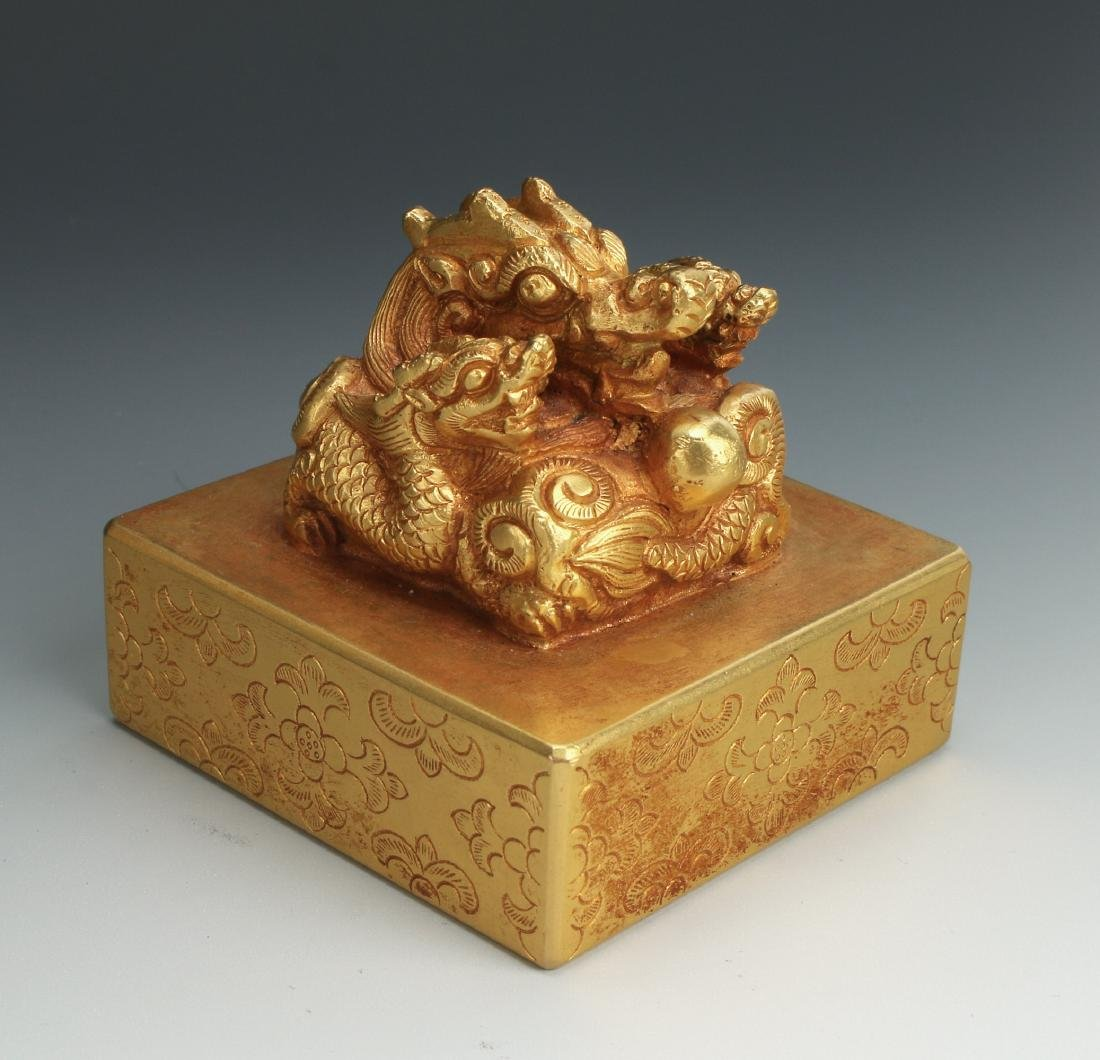 QING GOLD GILT BRONZE DRAGON SEAL - 3