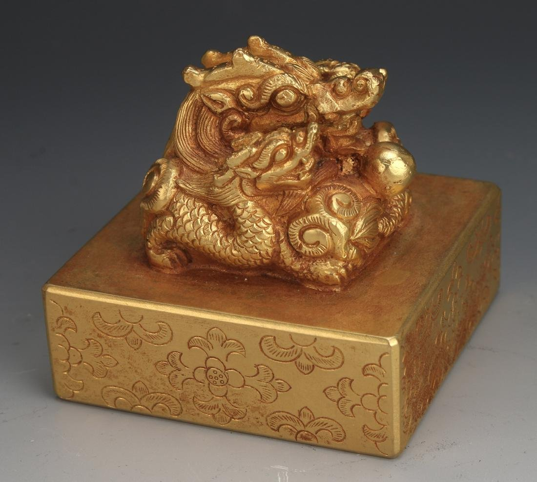 QING GOLD GILT BRONZE DRAGON SEAL - 8